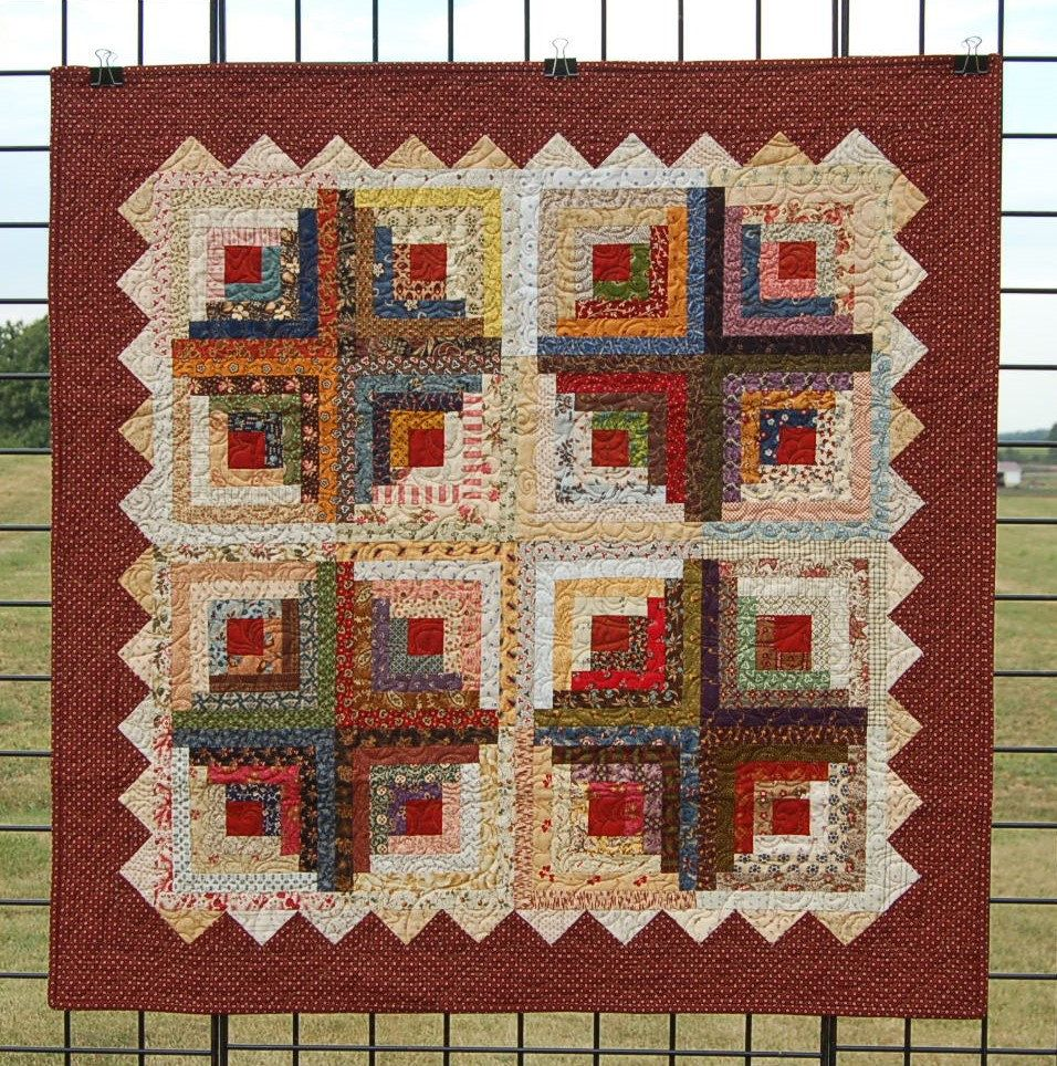 Quilts, a traditional, handmade Log Cabin Quilt for Sale, pieced ... : traditional quilts for sale - Adamdwight.com