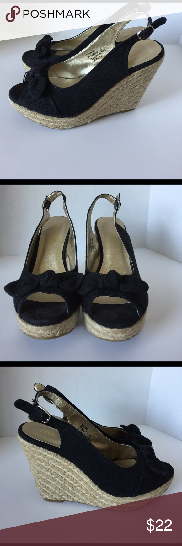 Me Too princess 12 Me Too Princess 12 burlap jule wrap wedge with buckle closure, padded inside. Black canvas peep toe with knotted bow. Heel 4' platform 1 1/4 size 7 me too Shoes Espadrilles