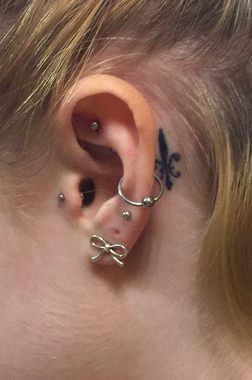 Tragus Double Triple Lobe Rook Orbital And Behind The Ear