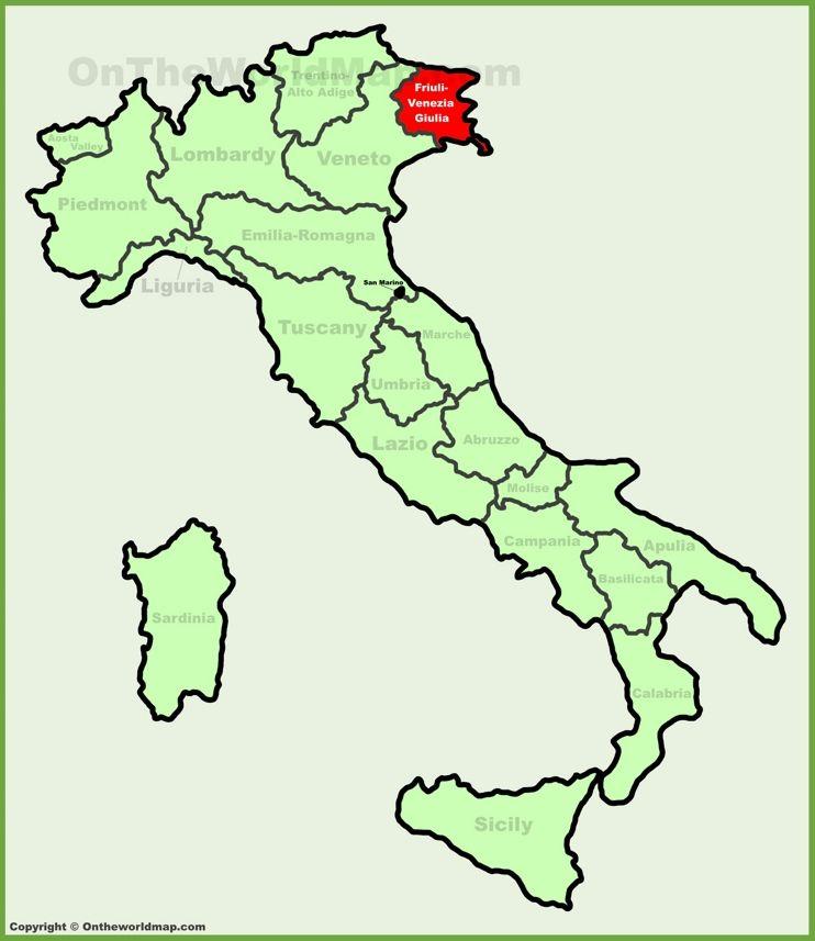 FriuliVenezia Giulia location on the Italy map Friuli Venezia