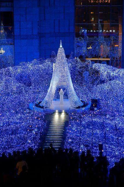 Christmas In Caretta Shiodome Tokyo Japan Blue Christmas Christmas Lights Beautiful Christmas