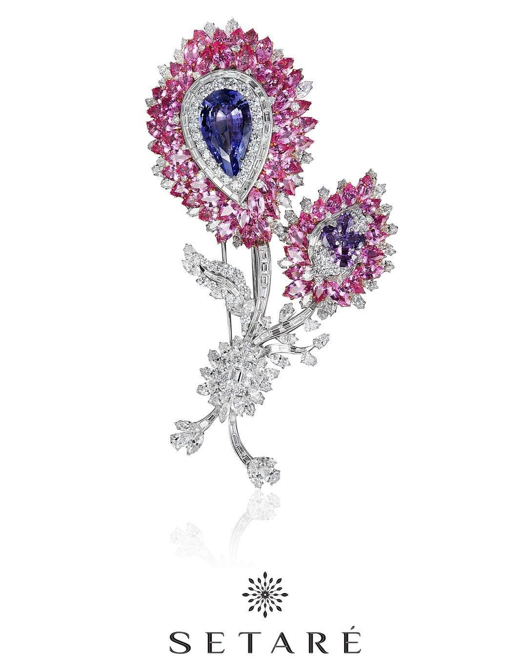 setarediamondsA gorgeous hand crafted brooch centered upon a special 20 carat pastel violet sapphire. #Art #Setare' #Sapphire #Diamonds #violet