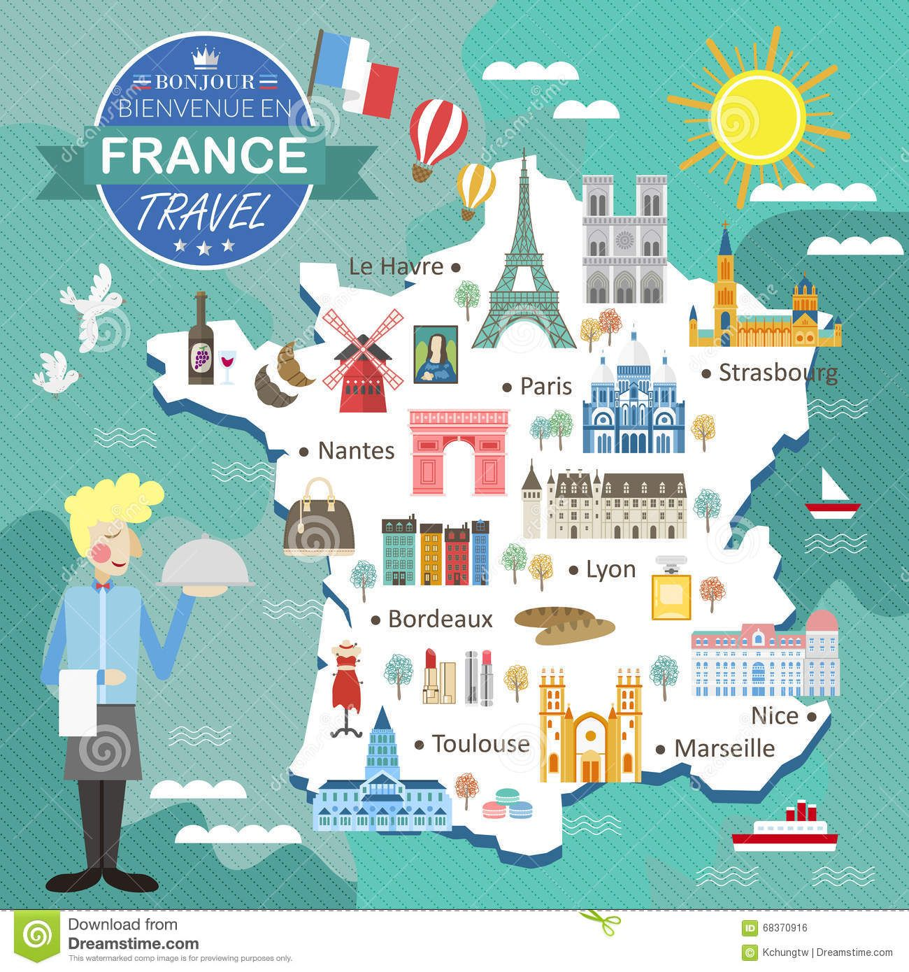 Mapa Turistico De Toulouse.Illustration About Attractive France Travel Map With Attractions And Specialties Illustration Of Bread Traveler Fa In 2020 France Travel Illustrated Map Travel Maps