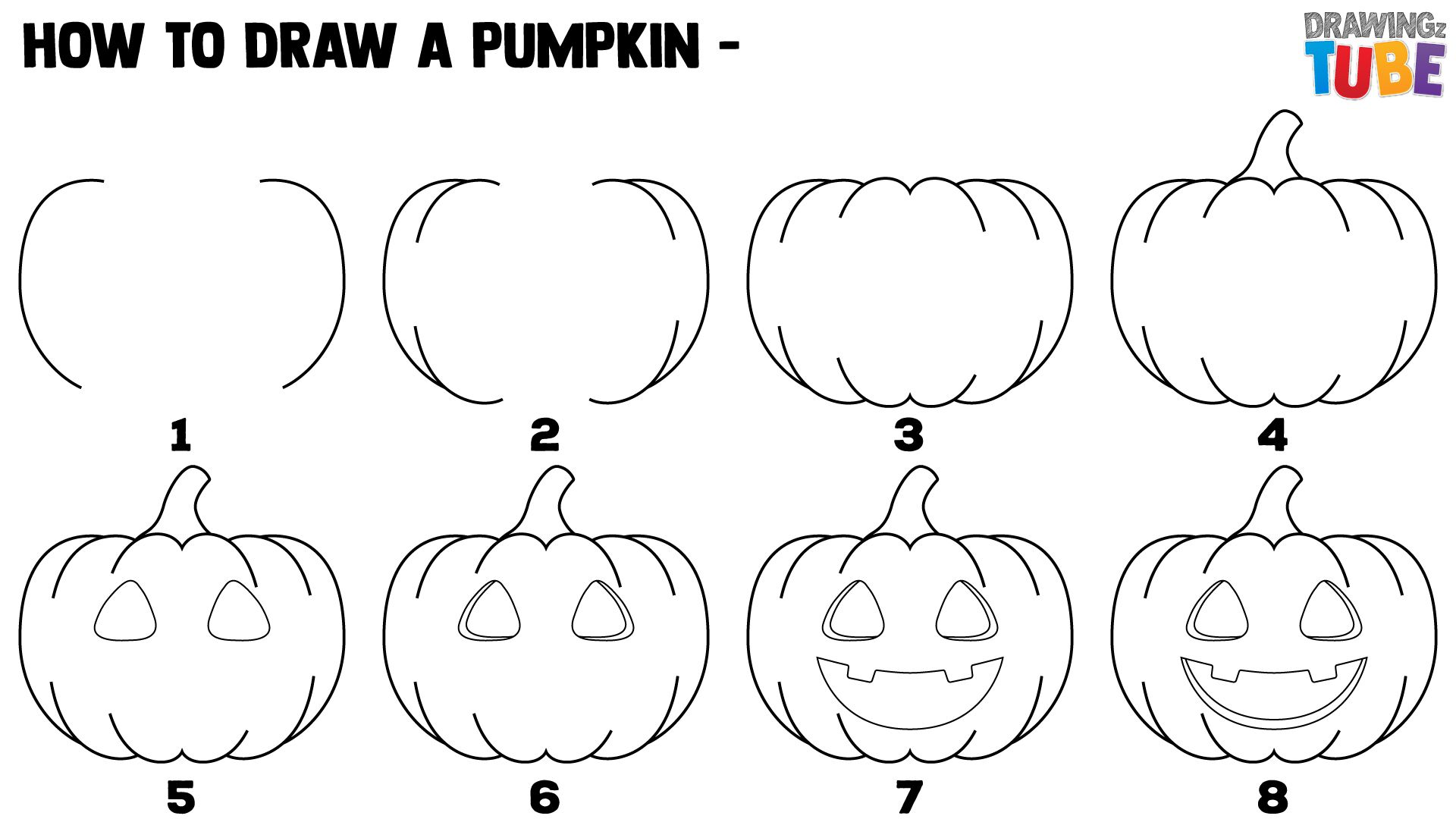 Simple pumpkin drawing (jack o lantern drawing).💚 for drawi. How To Draw A Halloween Pumpkin For Kids Pumpkin Drawing Halloween Drawings Drawings