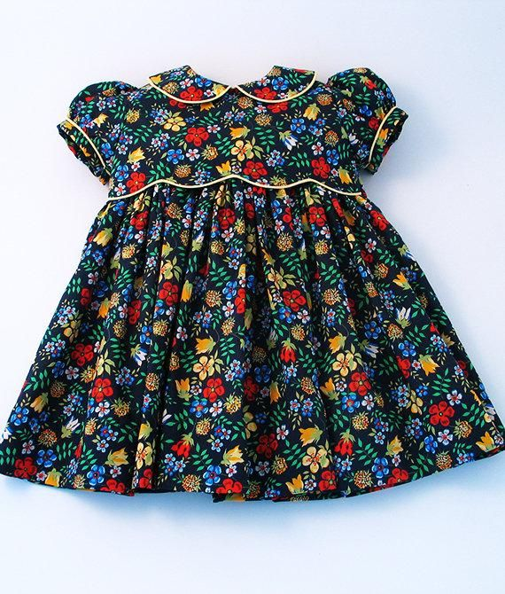 "Liberty Tana Lawn Dress in navy blue ""Edenham"" print for A Little Girl"