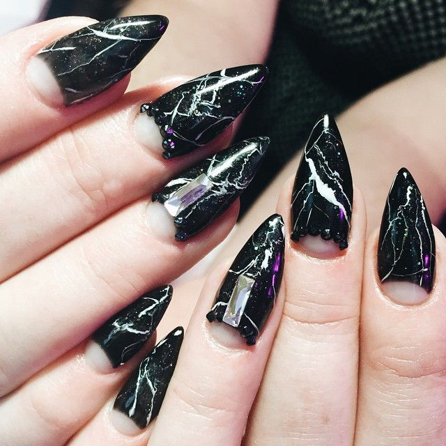 After a very popular reign of marble nails, Marble Stone nail art ...