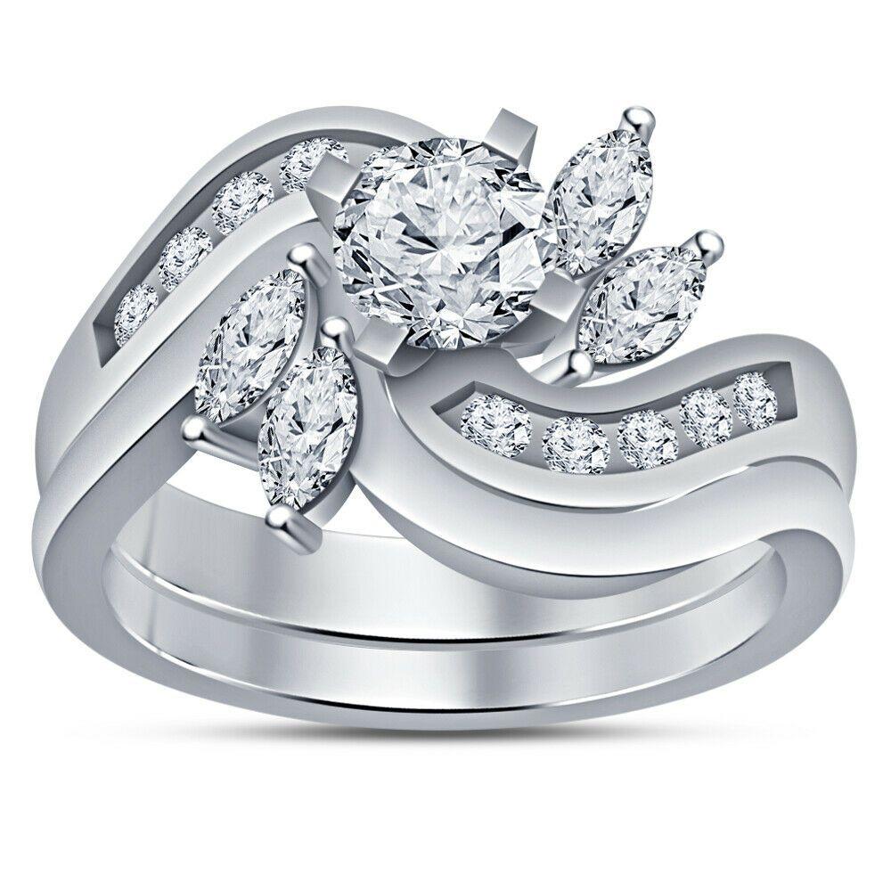 14k white gold over round marquise diamond wedding