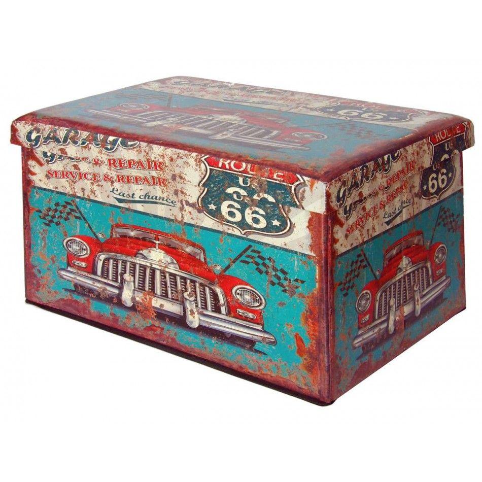 Puff ba l plegable estilo vintage route 66 muebles - Cajoneras estilo vintage ...