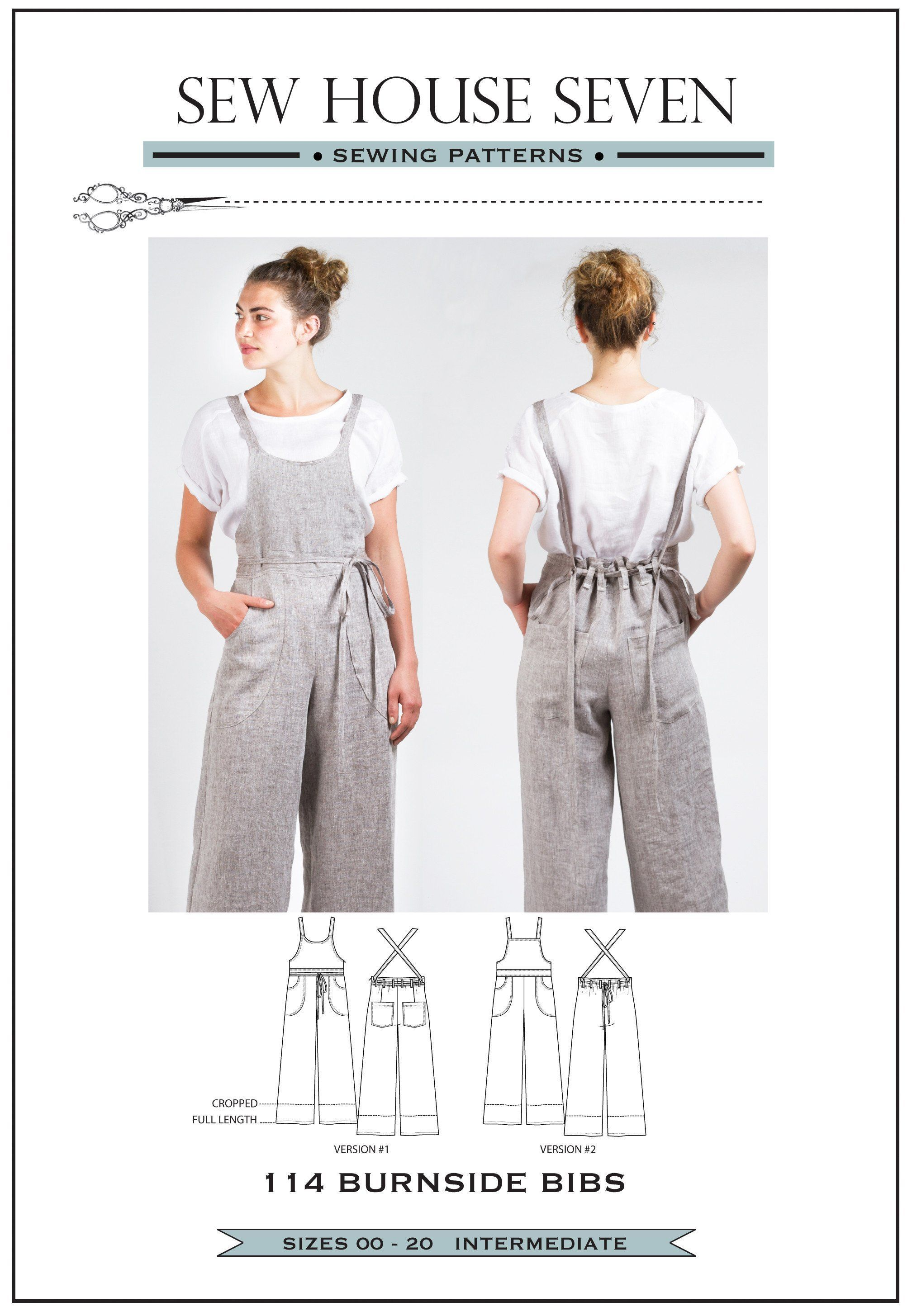 Burnside Bibs Sewing Pattern (PDF Pattern) #sewingprojects