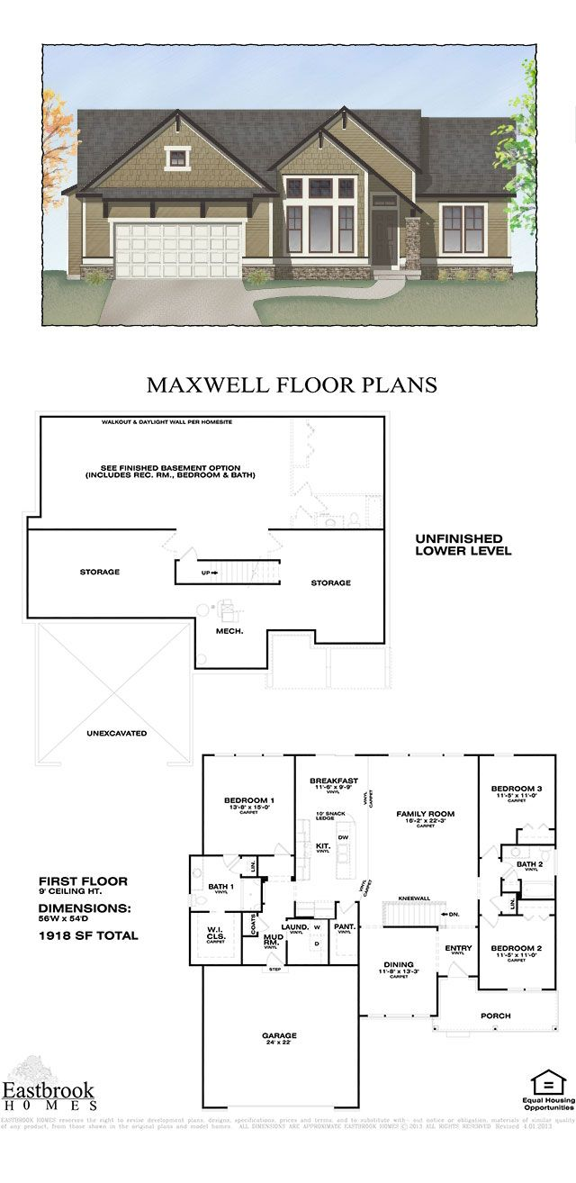 maxwell floor plan by eastbrook homes square footage 1918