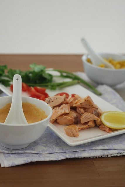 ingredients and salsas for Salmon Tacos by Heidi Leon Monges, via Flickr