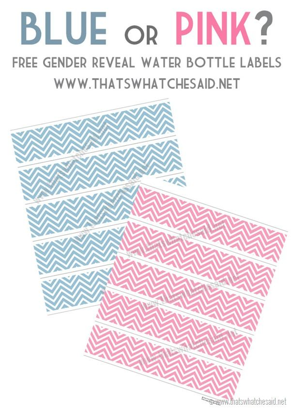 Pink And Blue Free Chevron Water Bottle Labels Perfect For Gender
