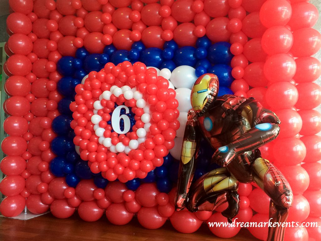 Marvel Ironman Balloon Wall Decoration For 6th Birthday Party Www Dreamarkevents Com Marvelcharacter Ironman Balloon Wall Decorations Balloons Balloon Wall