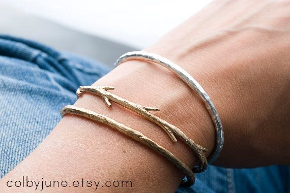 Bronze Twig Cuff Bracelet Nature Inspired Bracelets Stacking