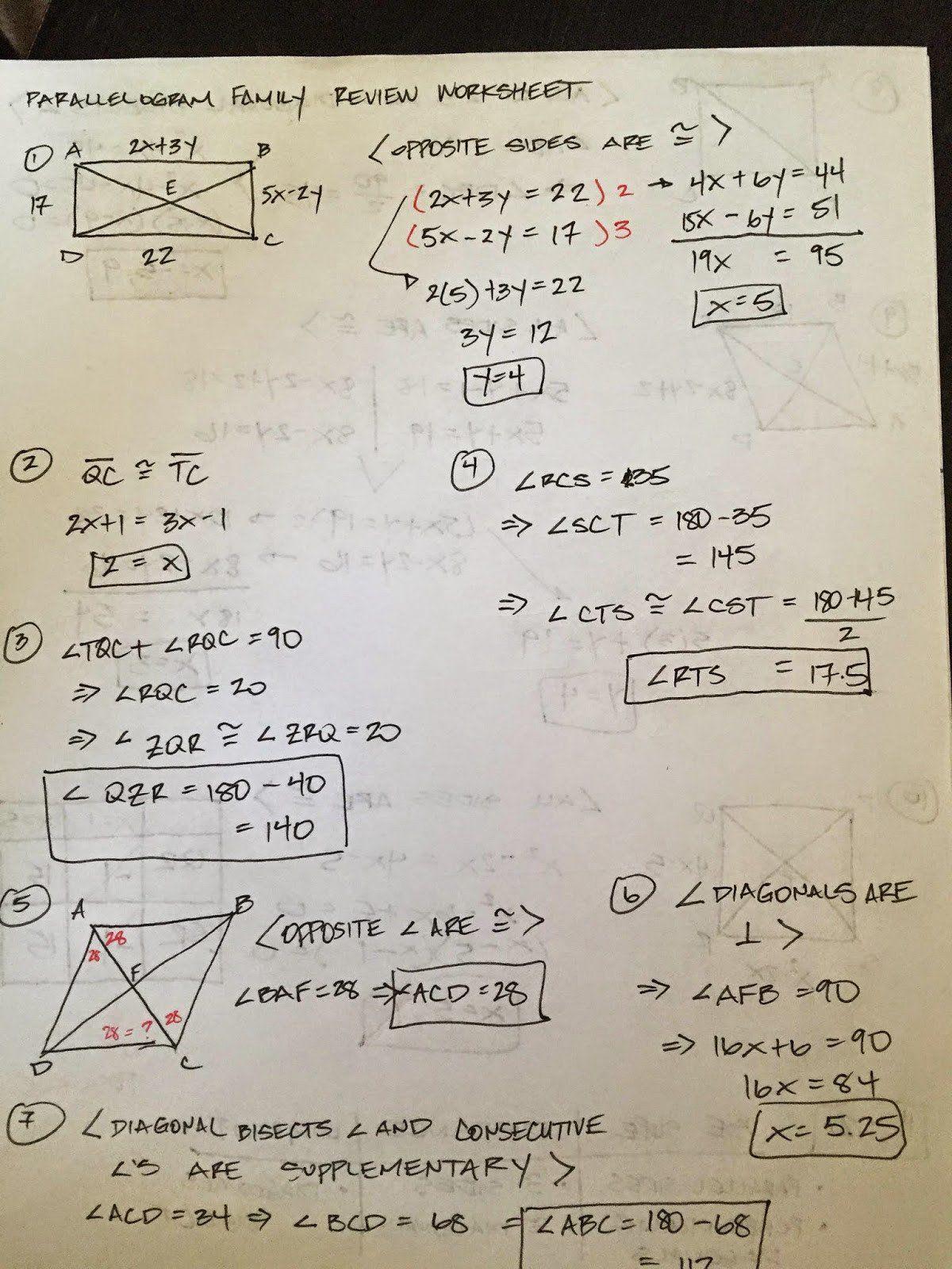 Quadrilaterals Worksheet High School Special