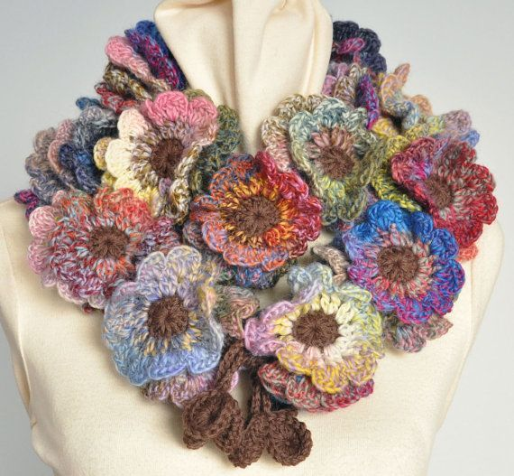 Floral Fall Crochet Multicolor Flower Scarf By Jennysunny On Etsy