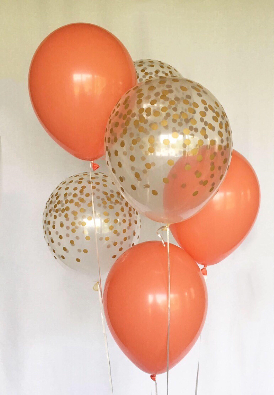 Latex wedding dress  Coral and Clear Gold Confetti Latex BalloonsFirst BirthdayWedding