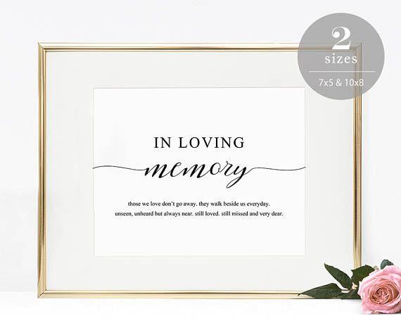 in loving memory sign template printable in memory sign wedding
