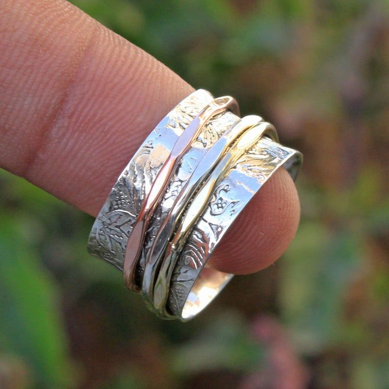 Silver Jewelry,Meditation Ring Three Tone Ring Spinning Ring,Thumb Ring 925 Sterling Silver Ring,Handmade Jewelry Spinner Ring
