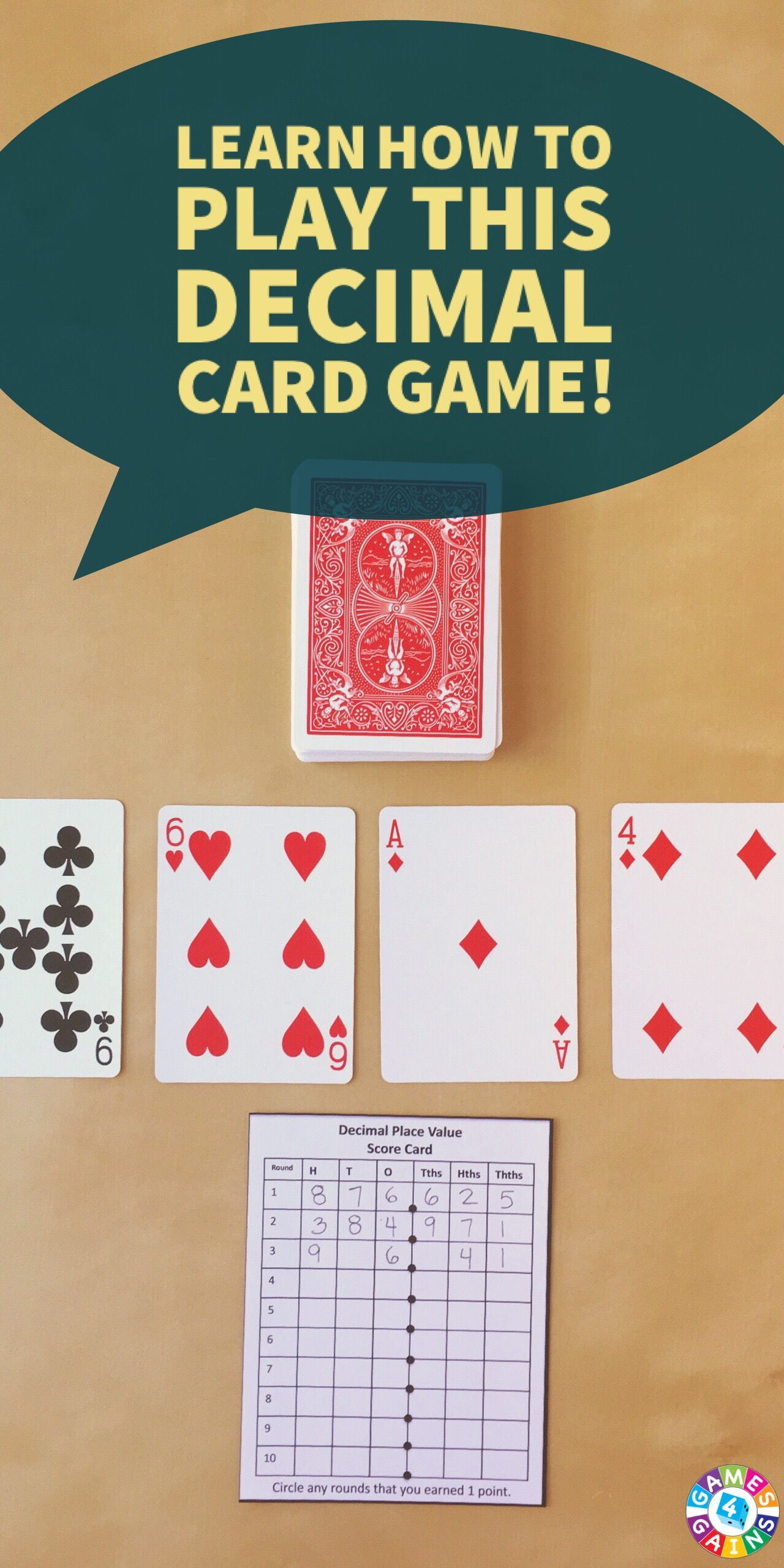 Decimal Place Value With Playing Cards With Images