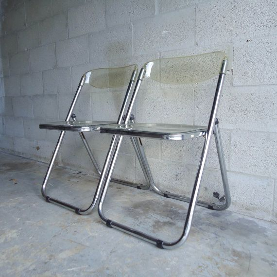 Charming Vintage Mid Century PAIR Of Folding Chairs Italian Lucite Plastic Chrome