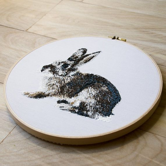 Rabbit Hoop Art. 8 Inch Embroidery Hoop Wall by TheSpareBedroomCo