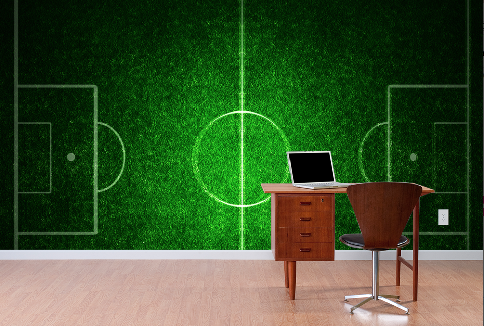 Football Field With White Lines On Grass Sports Wall Mural Sports Wall Mural Wallpaper Football Wall Murals