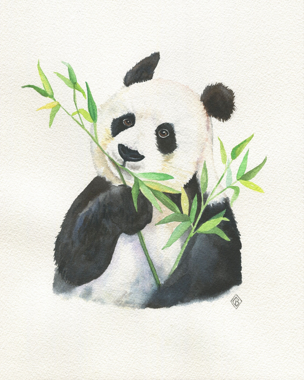 Panda Eating Bamboo Original Watercolor Painting Kids Wall Panda Artwork Panda Art Animal Paintings