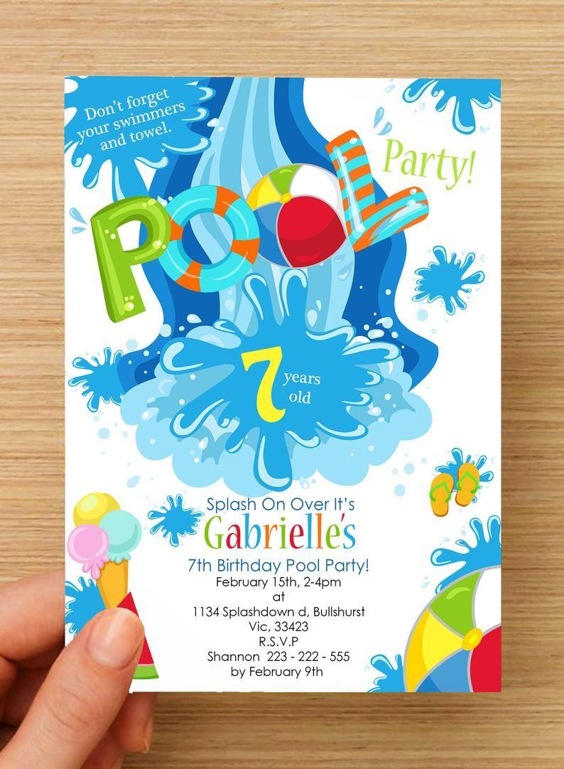 Strand Zwembad Partij Uitnodiging Gepersonaliseerde 2 Met Etsy Beach Party Invitations Pool Party Kids Pool Birthday Party