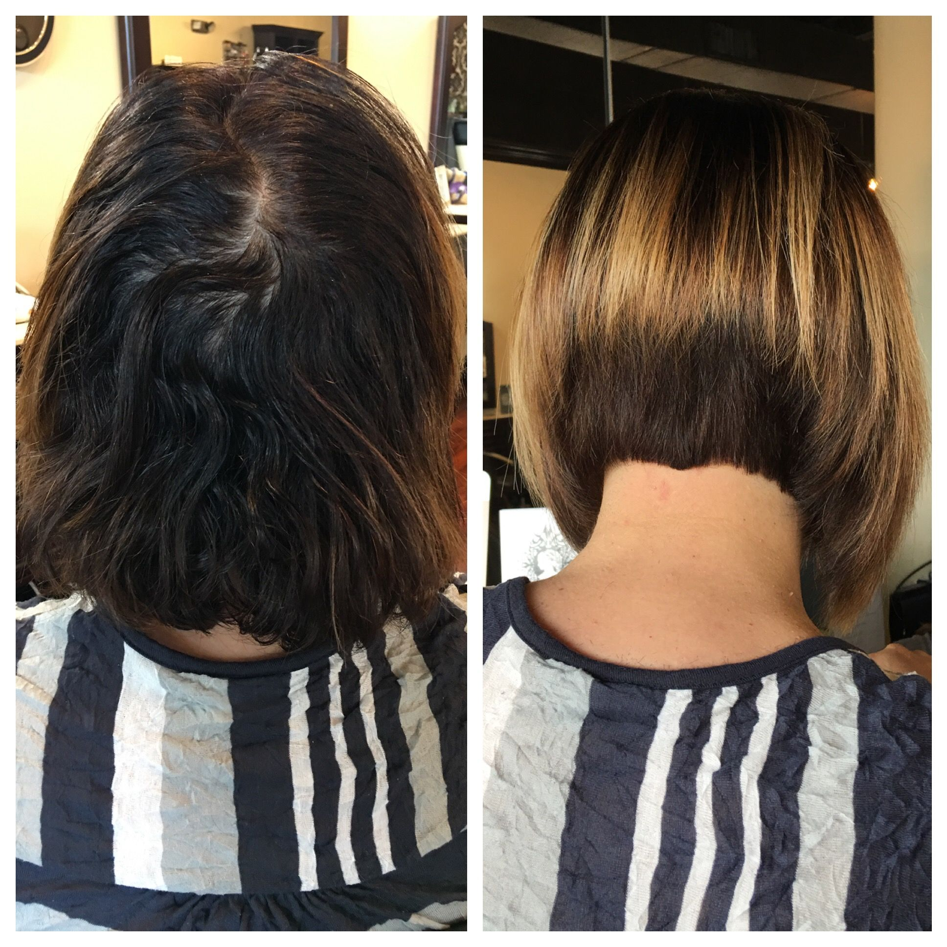A Frame Bob With Brazilian Blowout Hair Design And Cut By Heidi