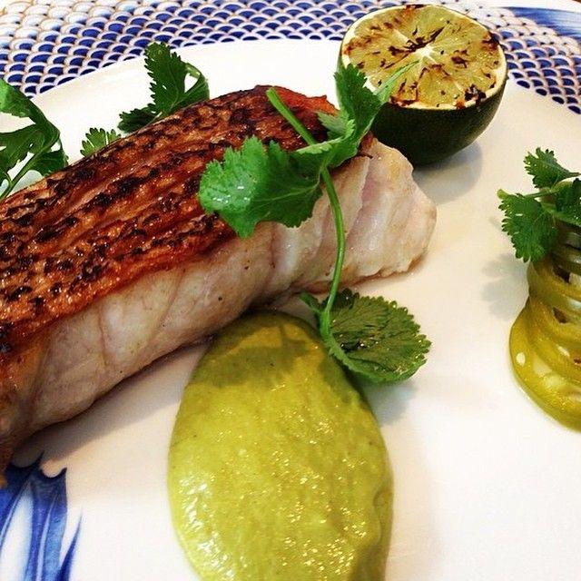 Rockfish with Salsa Verde, Pickled Jalapeños, and Grilled Lime. #fresh #bermuda #MarcusinBDA  by @leonardomarino7