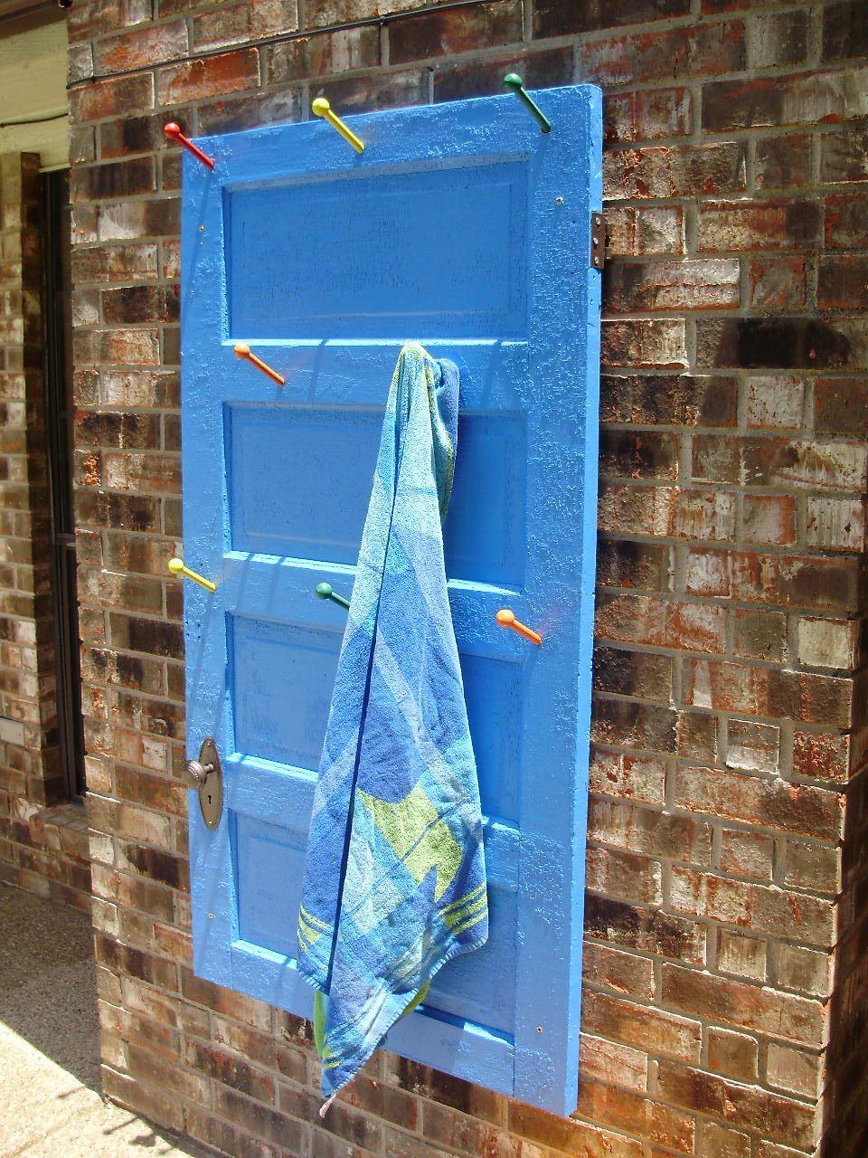 Towel Rack By The Pool Made From An Old Door Pool Towels Towel Rack Pool