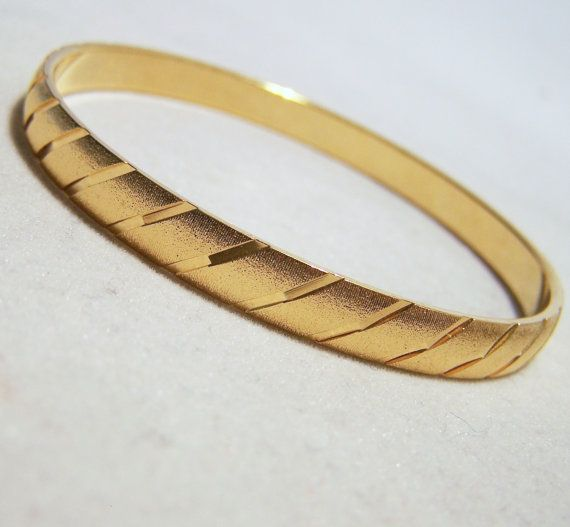 Vintage Monet Gold Tone Bangle Bracelet Etched By Gretelstreasures