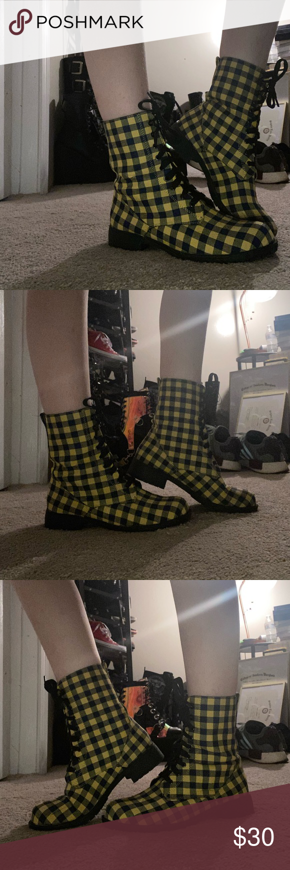Hot Topic Plaid Combat Boots Worn once, no OG boxing, will wrap them up for you though :} just too bright for me. They are yellow and navy with black laces. Hot Topic Shoes Combat & Moto Boots #hottopicclothes Hot Topic Plaid Combat Boots Worn once, no OG boxing, will wrap them up for you though :} just too bright for me. They are yellow and navy with black laces. Hot Topic Shoes Combat & Moto Boots #hottopicclothes