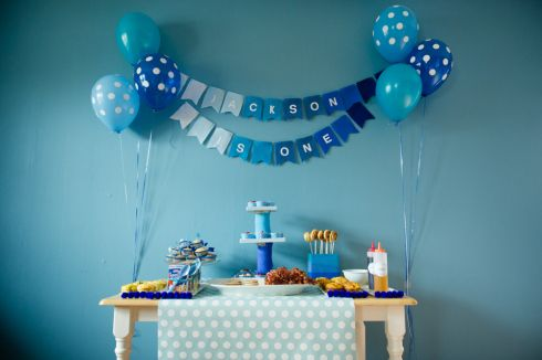 ombre blue birthday party pajamas and pancakes first birthday with