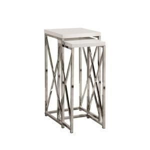 Glossy White with Chrome Metal Plant Stand Set (2-Pieces)-I 3026 at The Home Depot