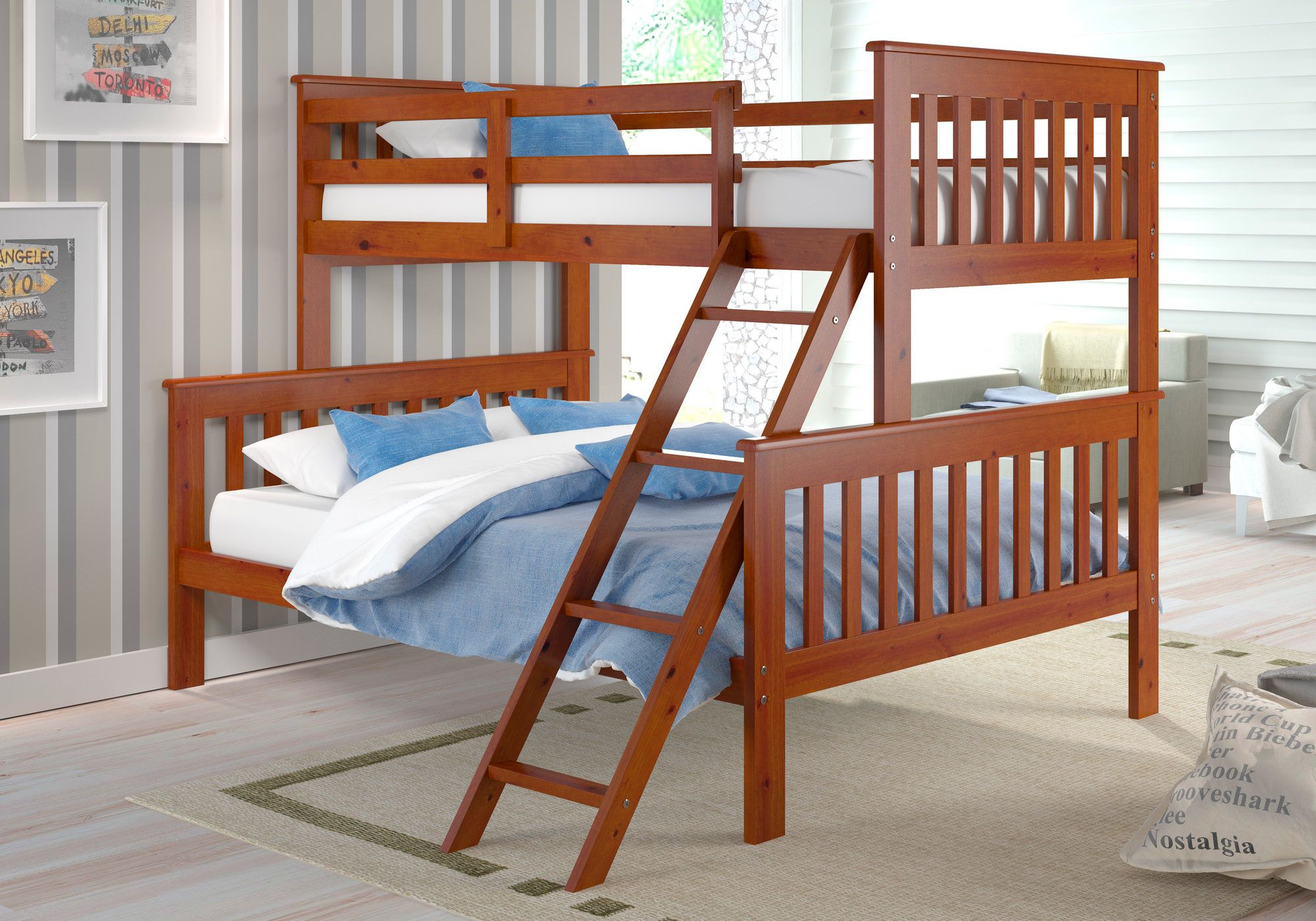 Twin over full loft bed with stairs  Twin over Full Standard Bunk Bed  Bunk bed Twins and Products