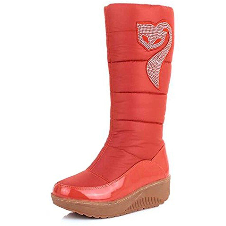 Women's Trendy Waterproof Rhinestone Faux Fur Lined Mid Calf Mid Wedge Heel Platform Warm Winter Snow Boots