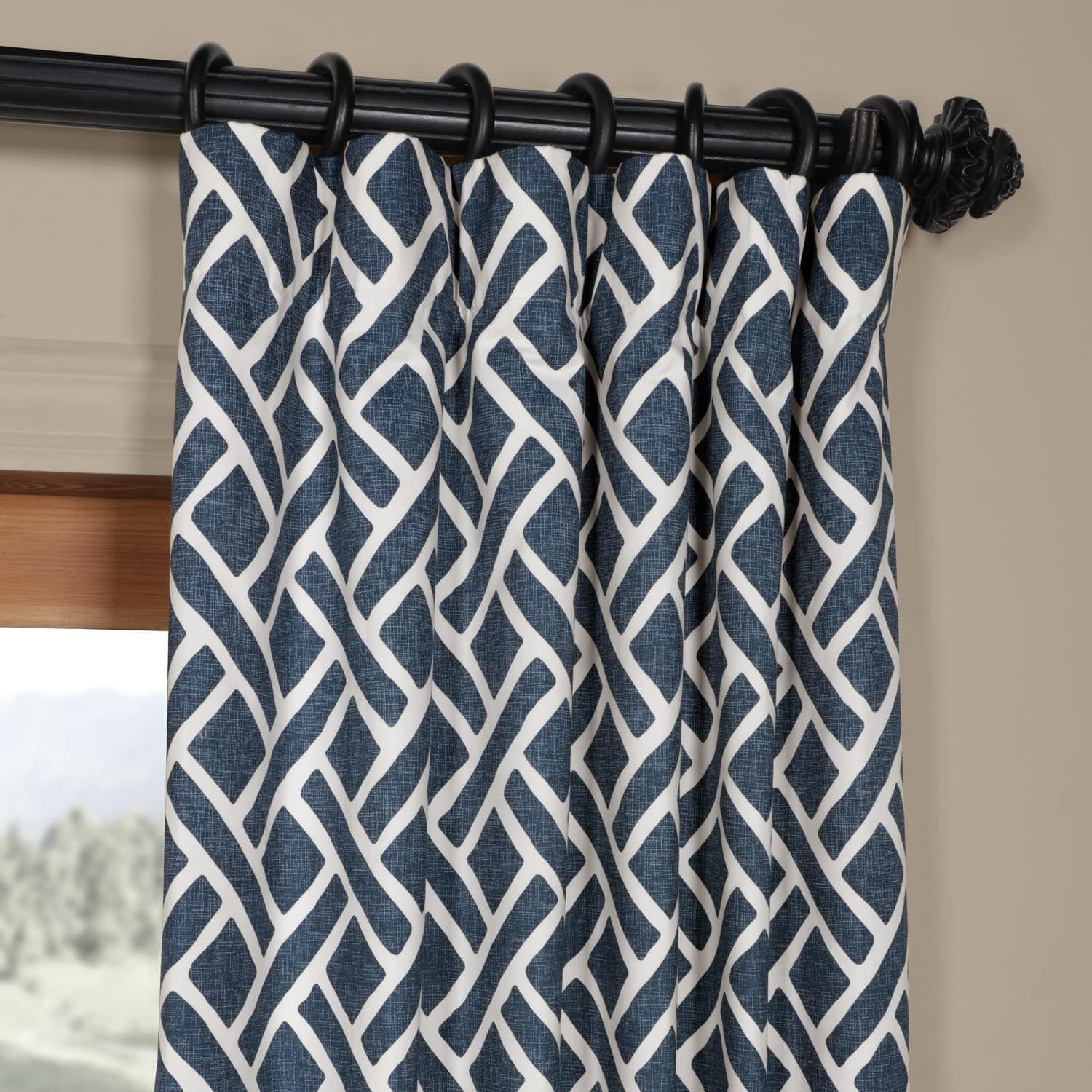 Exclusive Fabrics Martinique Geometric Pattern Cotton Curtain