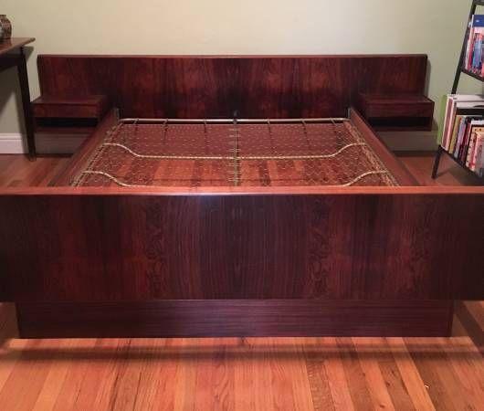 1960's danish modern rosewood queen bed with floating nightstands
