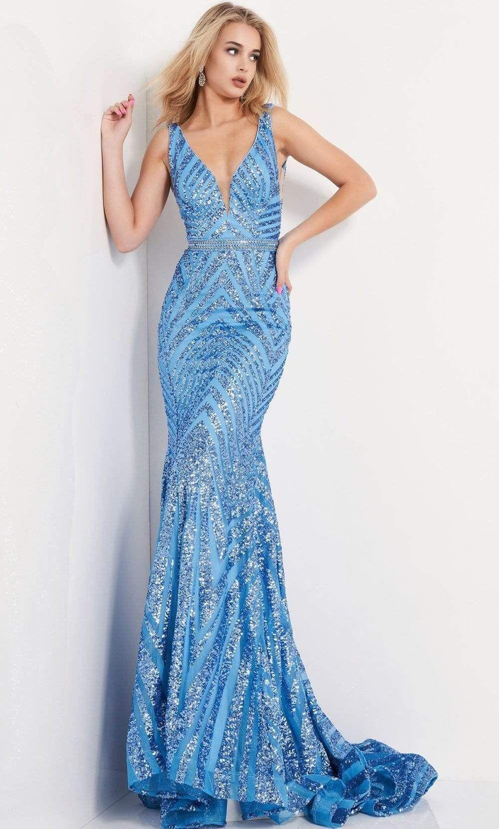 Jovani 03570 Plunging Neck Shimmer Stripe Evening Gown In 2021 Prom Dresses Jovani Prom Dresses Sleeveless Formal Dresses Prom [ 1660 x 1000 Pixel ]