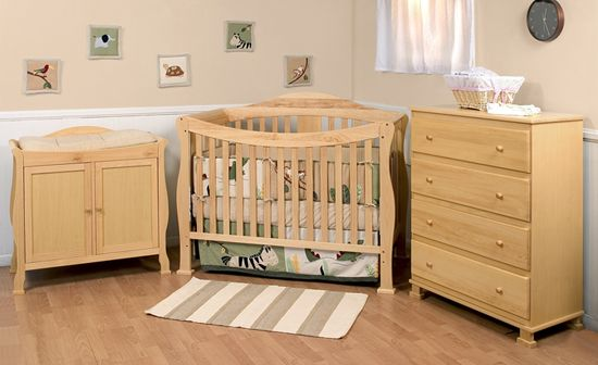 3 Piece Nursery Furniture Sets With Natural Color Nursery