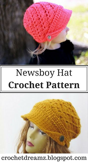 Audrey Newsboy Hat Crochet Pattern, Baby to Woman | Crochet Dreamz ...