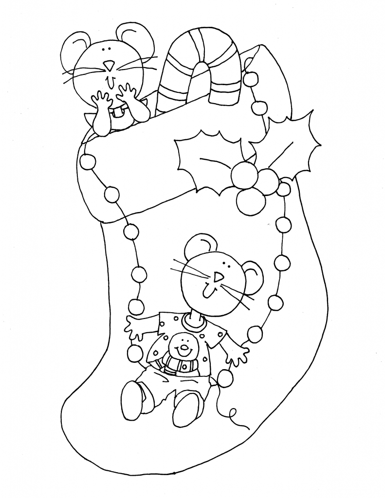Mousey Christmas Stocking Dearie Dolls Digi Stamps Free