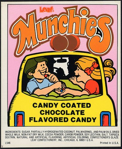 Candy Machine Vending Insert Card - Leaf Munchies candy coated chocolate flavored candy - 1970's