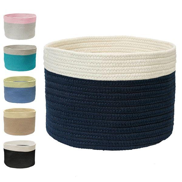 Mona Mi Medium Color Dipped Storage Basket 12x12x12 Color Dipped Storage Baskets Navy White Stripe
