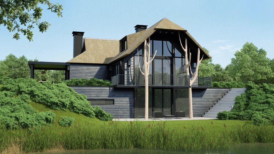 Heel mooi deze glaspui van onder tot boven waarbij de kelder ook fraai uitzicht naar buiten - Huis architect hout ...