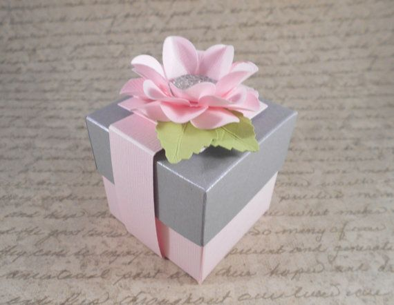Check Out Pink And Silver Grey Gift Boxes Shower Favor Box