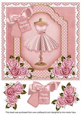 Pink Dotty Dress Happy Birthday 8in Decoupage Step by Step