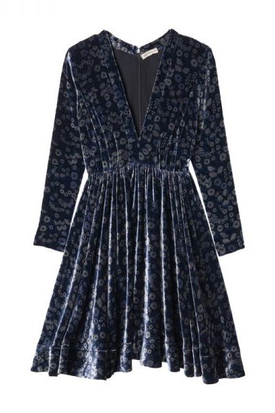 We are in love with this velvet dress by Rebecca Taylor. Throw tights under it and you're ready to go.
